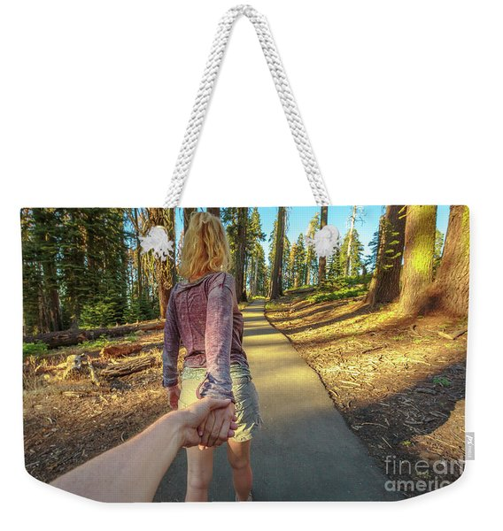 Weekender Tote Bag featuring the photograph Hand In Hand Sequoia Hiking by Benny Marty