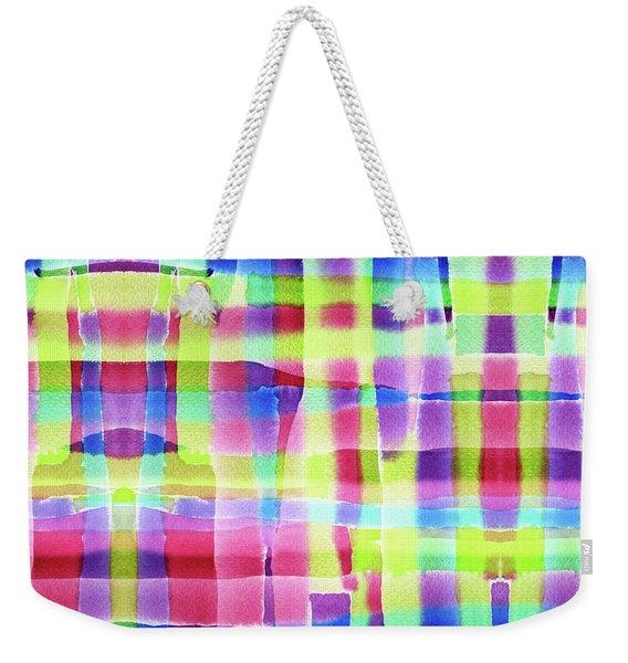 Hand-painted Abstract Gingham Weave Neon Rainbow Weekender Tote Bag