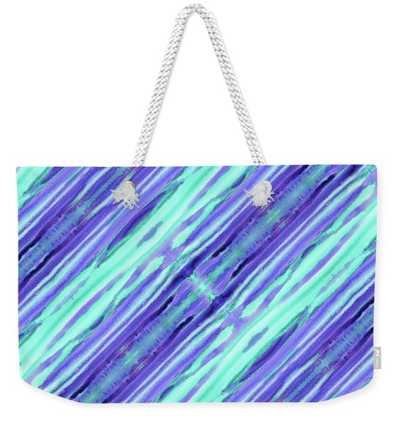 Hand-painted Abstract Stripes Teal Violet Turquoise Purple Weekender Tote Bag