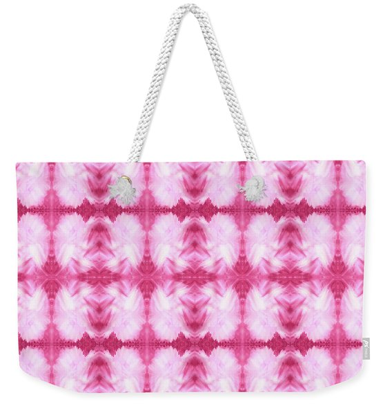 Hand-painted Abstract Watercolor In Dark Pink And White Weekender Tote Bag