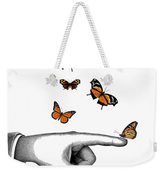 Hand With Orange Monarch Butterfly Weekender Tote Bag