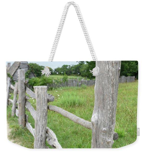 Handmade Rustic Wooden Fencing Along A Pasture Weekender Tote Bag
