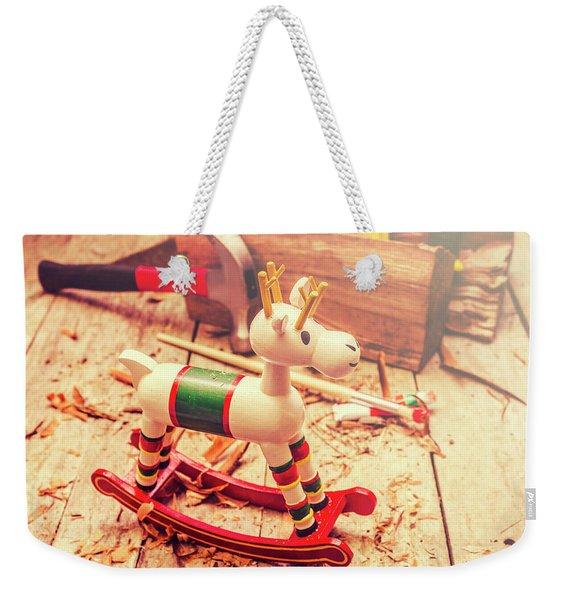 Handmade Xmas Rocking Toy Weekender Tote Bag