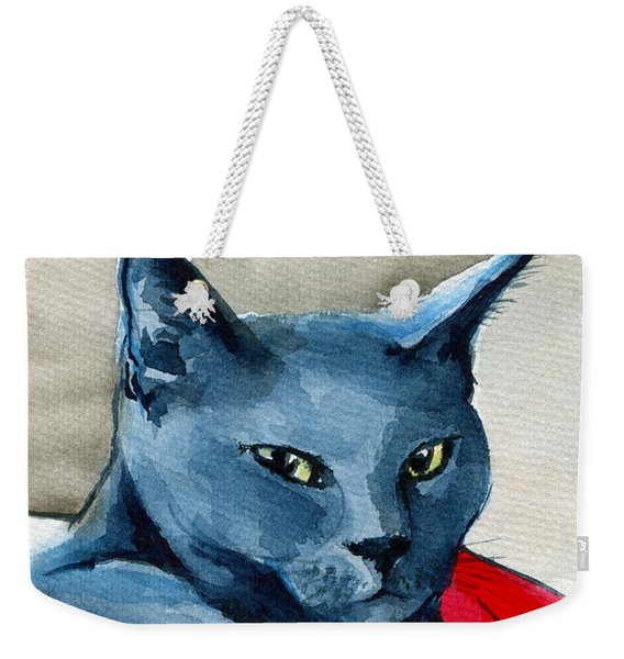 Handsome Russian Blue Cat Weekender Tote Bag