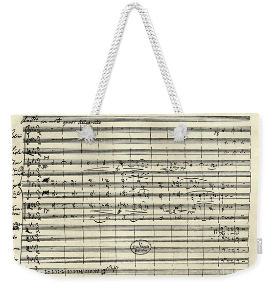 Handwritten Manuscript Score For Kyrie For The Mass In A Flat And E Flat Major Weekender Tote Bag