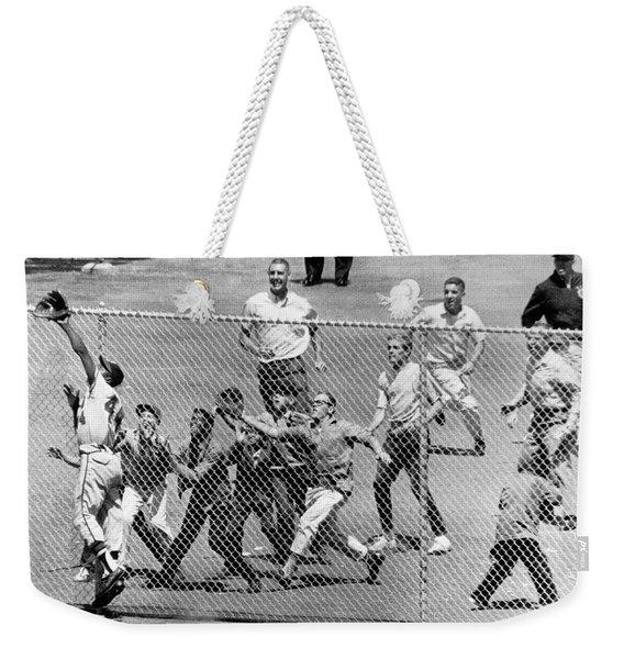 Hank Aaron In  Action Weekender Tote Bag