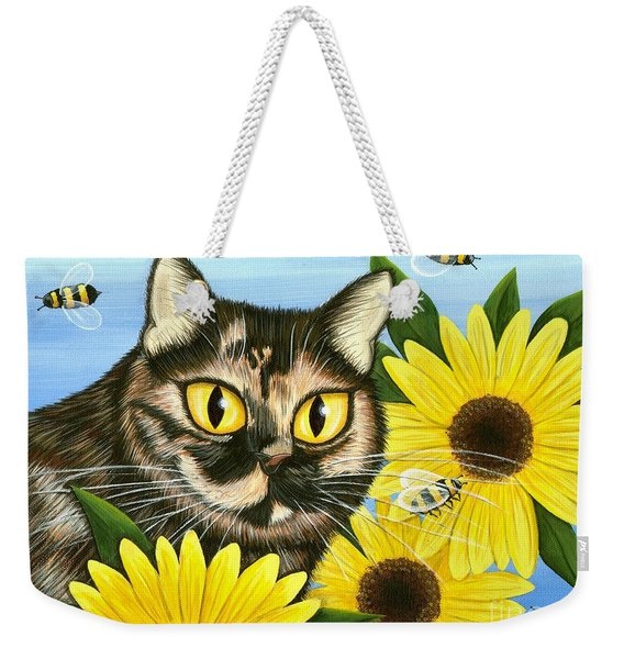 Hannah Tortoiseshell Cat Sunflowers Weekender Tote Bag