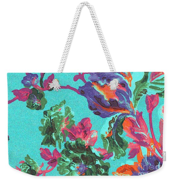 Weekender Tote Bag featuring the mixed media Happy Blooms by Writermore Arts