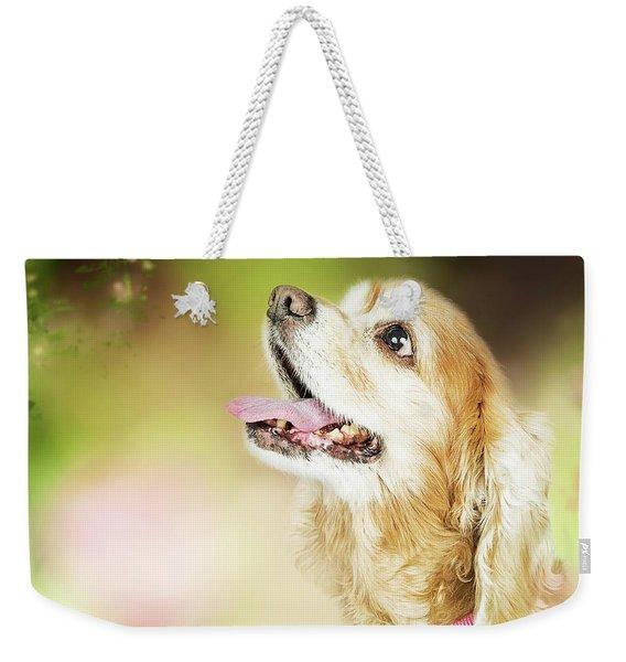 Happy Dog Outdoors Looking At Bee Weekender Tote Bag