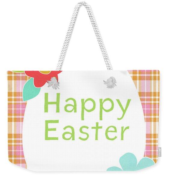 Happy Easter Egg Pink Plaid- Art By Linda Woods Weekender Tote Bag