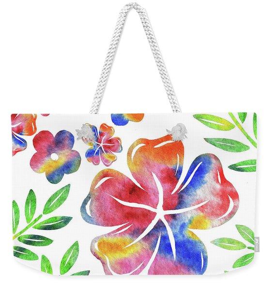 Happy Flowers Watercolor Silhouettes  Weekender Tote Bag