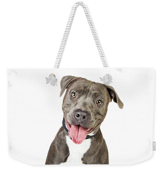 Happy Friendly Smiling Pit Bull Dog  Weekender Tote Bag