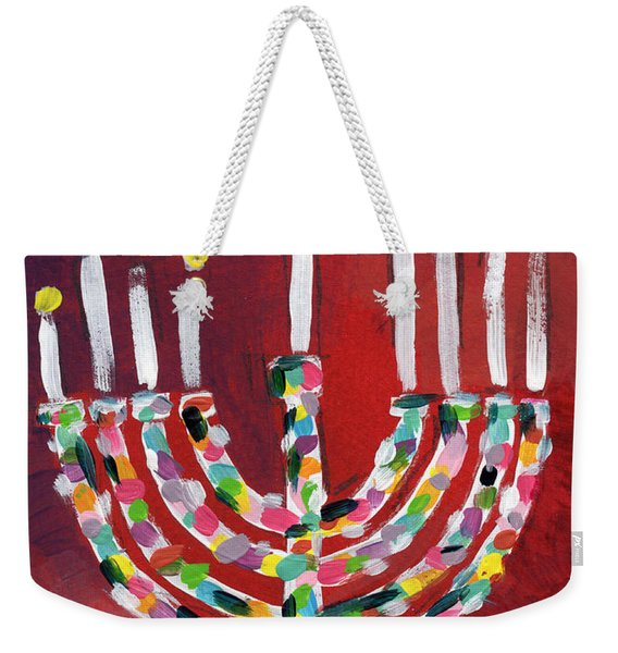 Happy Hanukkah Colorful Menorah Card- Art By Linda Woods Weekender Tote Bag