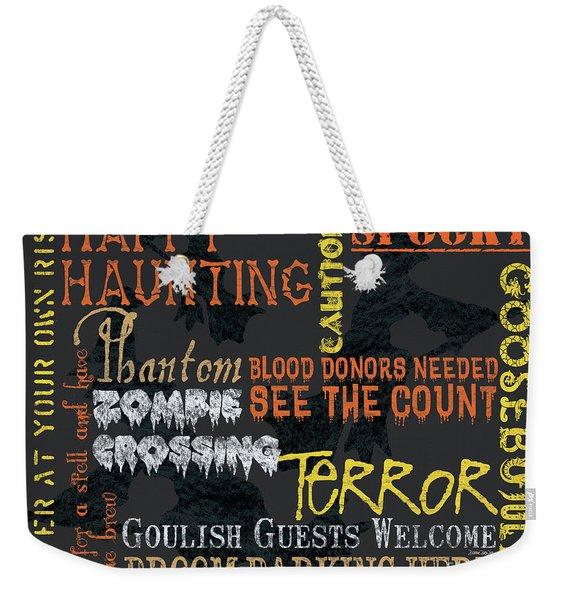 Happy Haunting Typography Weekender Tote Bag