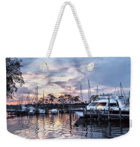 Happy Hour Sunset At Bluewater Bay Marina, Florida Weekender Tote Bag