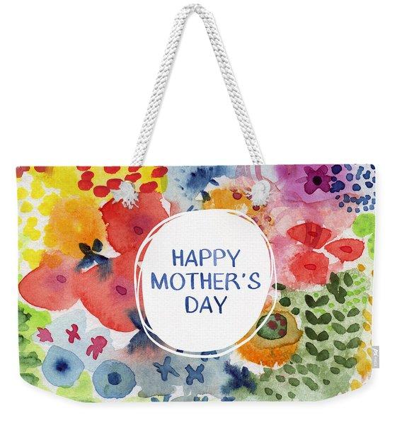 Happy Mothers Day Watercolor Garden- Art By Linda Woods Weekender Tote Bag