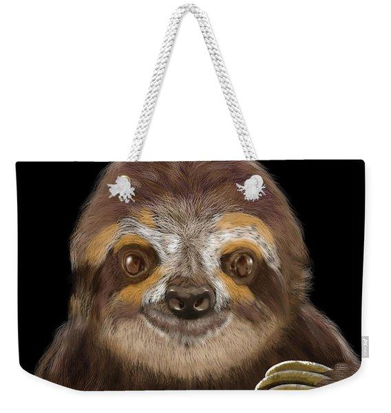 Happy Three Toe Sloth Weekender Tote Bag