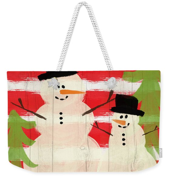 Happy Snowmen- Art By Linda Woods Weekender Tote Bag