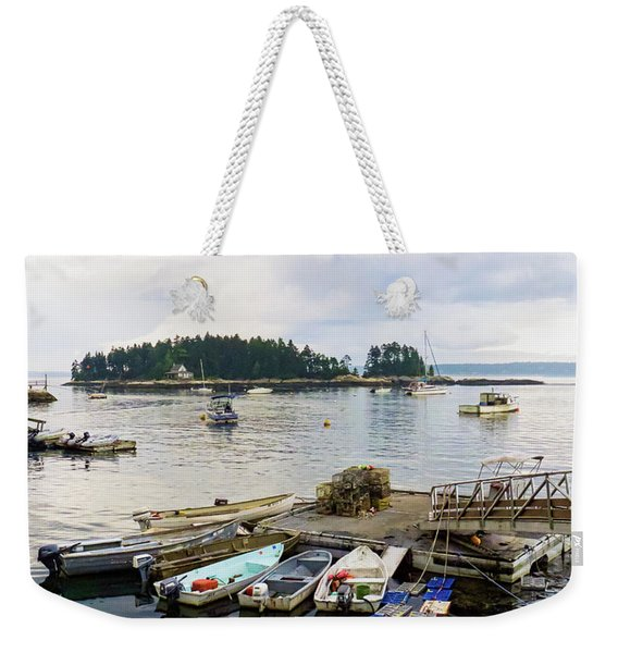 Weekender Tote Bag featuring the photograph Harbor At Georgetown Five Islands, Georgetown, Maine #60550 by John Bald