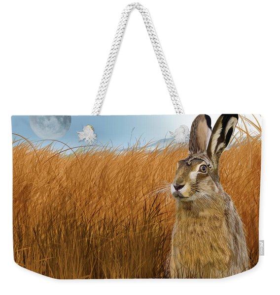 Hare In Grasslands Weekender Tote Bag