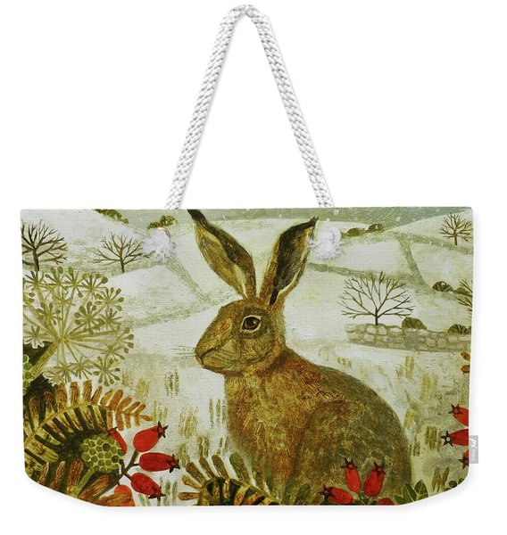 Hare In The Snow Weekender Tote Bag