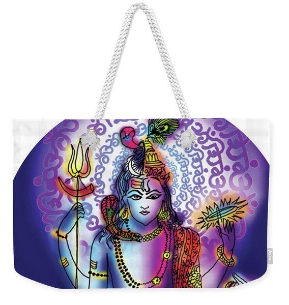Weekender Tote Bag featuring the painting Hari Hara Krishna Vishnu by Guruji Aruneshvar Paris Art Curator Katrin Suter