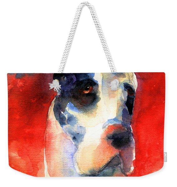 Harlequin Great Dane Watercolor Painting Weekender Tote Bag