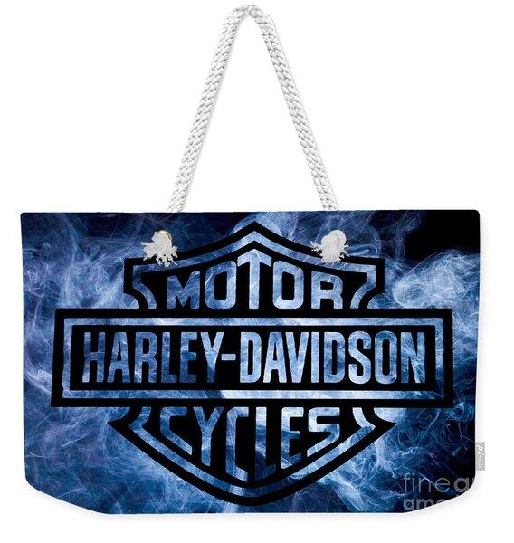 Harley Davidson Logo Blue Weekender Tote Bag