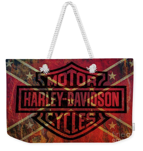 Harley Davidson Logo Confederate Flag Weekender Tote Bag