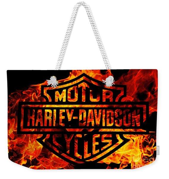 Harley Davidson Logo Flames Weekender Tote Bag