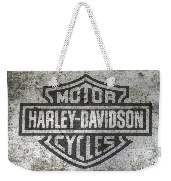 Harley Davidson Logo On Metal Weekender Tote Bag