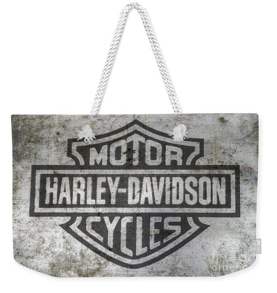 Harley Davidson Logo On Metal Weekender Tote Bag