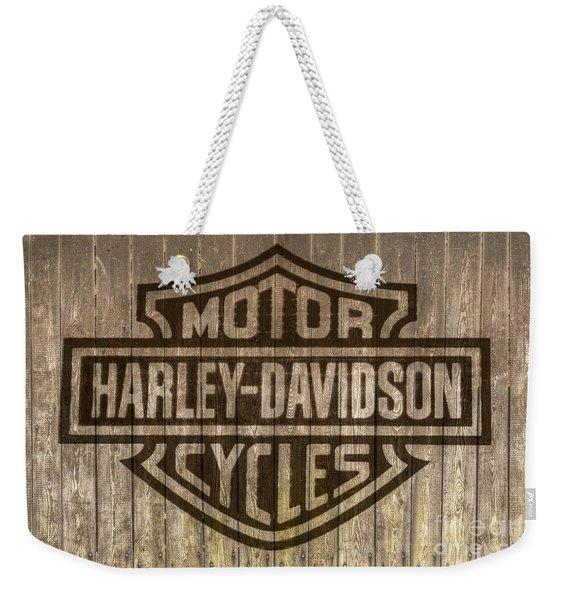 Harley Davidson Logo On Wood Weekender Tote Bag