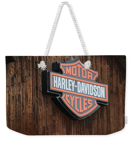 Harley Davidson Sign In West Jordan Utah Photograph Weekender Tote Bag