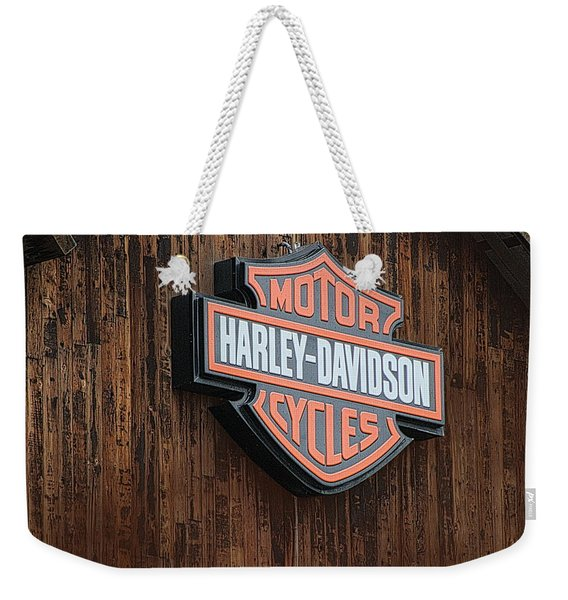 Harley Davidson Sign In West Jordan Utah Photograph Weekender Tote Bag