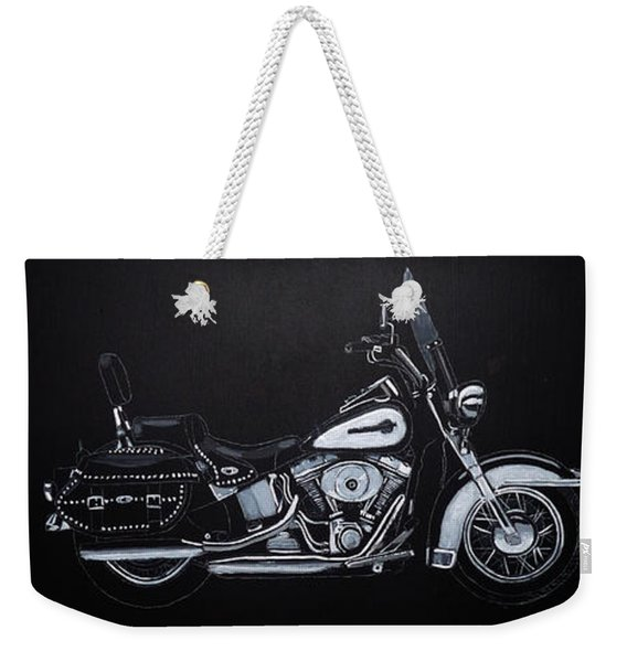Weekender Tote Bag featuring the painting Harley Davidson Snap-on by Richard Le Page