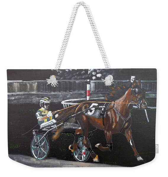 Weekender Tote Bag featuring the painting Harness Racing by Richard Le Page
