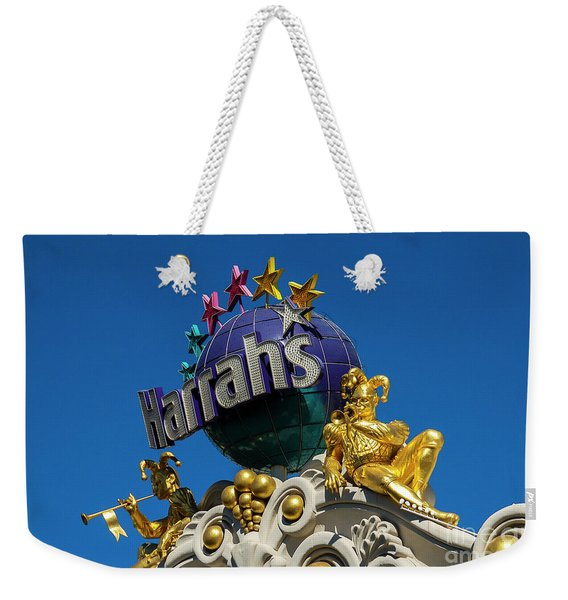 Harrah's Casino Sign On The Las Vegas Strip Weekender Tote Bag