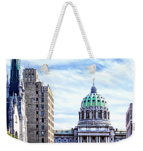 Harrisburg Pa - Capitol Building Seen From State Street Weekender Tote Bag