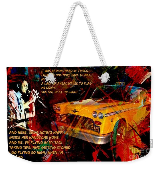 Harry Chapin Taxi Song Poster With Lyrics Weekender Tote Bag