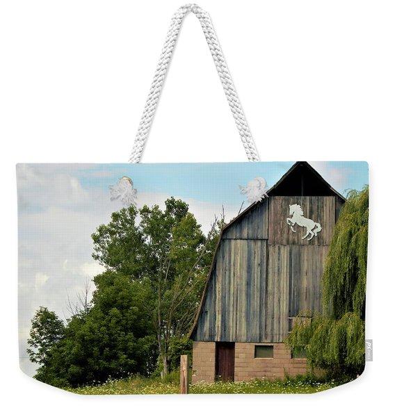 0017 - Hassler Lake Road Horse Barn Weekender Tote Bag