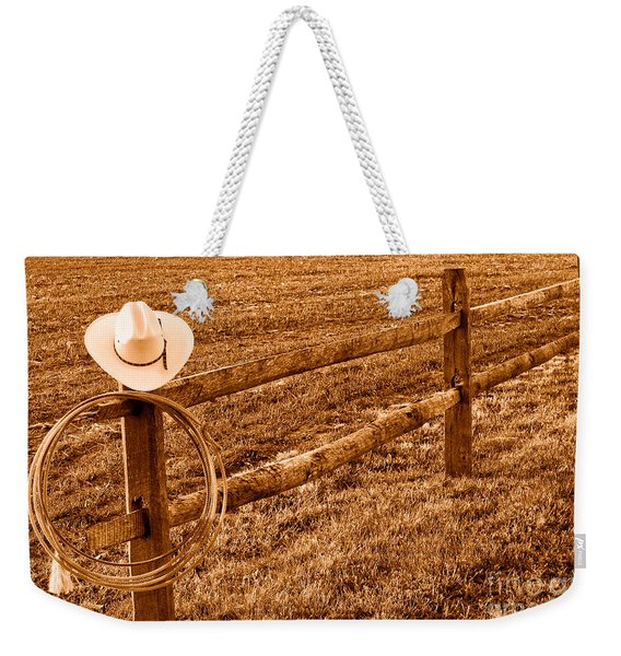 Hat And Lasso On Fence - Sepia Weekender Tote Bag