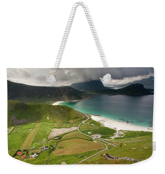 Haukland Valley And Beach From Mannen Weekender Tote Bag