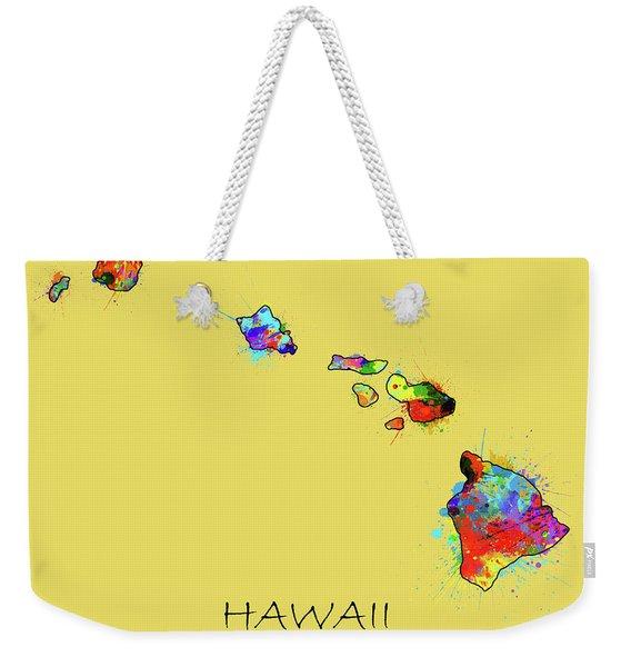 Hawaii Map Color Splatter 3 Weekender Tote Bag