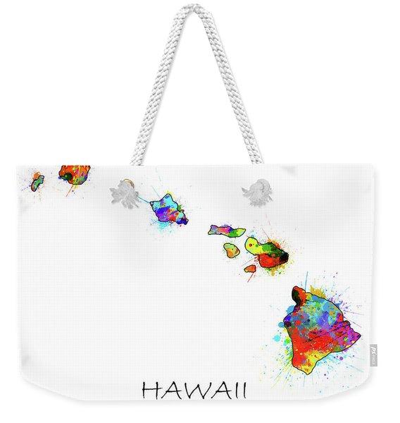 Hawaii Map Color Splatter  Weekender Tote Bag