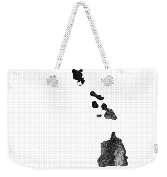Hawaii State Map Art - Grunge Silhouette Weekender Tote Bag