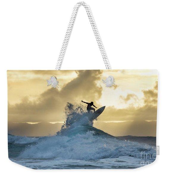 Hawaii Surfing Sunset Polihali Beach Kauai Weekender Tote Bag
