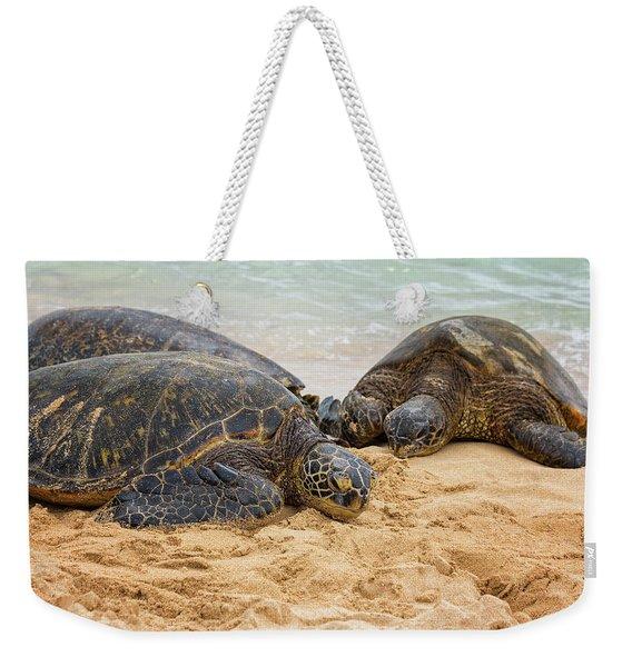 Hawaiian Green Sea Turtles 1 - Oahu Hawaii Weekender Tote Bag