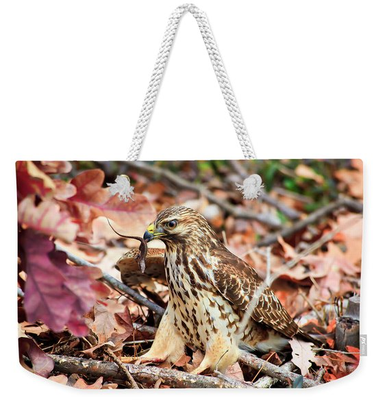 Hawk Catches Prey Weekender Tote Bag
