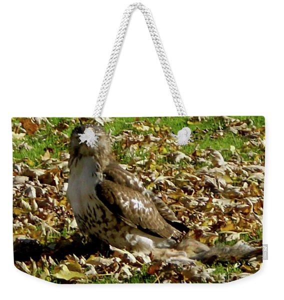 Hawk Falling Leaves Weekender Tote Bag